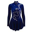 זול שמלות להחלקה על הקרח-שמלה להחלקה אמנותית בגדי ריקוד נשים / בנות החלקה על הקרח שמלות כחול קטיפה ריינסטון הצגה / אימון ביגוד להחלקה על הקרח עבודת יד אחיד /