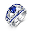 tanie Modne pierścionki-Damskie Cyrkonia / Syntetyczny Sapphire Obrączka - Pozłacane Modny 6 / 7 / 8 Niebieski / Niebieski LED Na Prezent / Codzienny