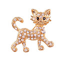 cheap Pins and Brooches-Women's Brooches Rhinestone Alloy Cat Gold Silver Animals Jewelry Gift Daily Costume Jewelry