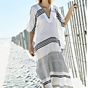 cheap Earrings-Women's Plunging Neck Cover-Up - Striped