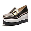 cheap Women's Heels-Women's Shoes PU(Polyurethane) Spring / Summer Comfort Loafers & Slip-Ons Creepers Square Toe Buckle Gold / Black