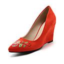 ieftine Sisteme Alarmă Hoți-Pentru femei Pantofi Piele nubuc Primăvară / Vară Confortabili / Noutăți Tocuri Toc Platformă Vârf ascuțit Aplică Galben / Rosu / Roz