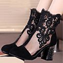 cheap Women's Boots-Women's Shoes Lace / Nubuck leather Spring / Fall Fashion Boots Boots Chunky Heel Round Toe Mid-Calf Boots Rhinestone Black