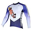 ieftine Jerseru Cycling-ILPALADINO Bărbați Manșon Lung Jerseu Cycling - Alb+Albastru Celest Desene Animate / Animal Bicicletă Jerseu, Uscare rapidă, Rezistent la