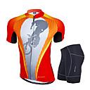 זול סטים של חולצות ומכנסיים\שורטים לרכיבת אופניים-Nuckily בגדי ריקוד גברים שרוולים קצרים חולצת ג'רסי ומכנס קצר לרכיבה - כתום גאומטרי אופניים מדים בסטים, 3D לוח, עמיד, עיצוב אנטומי פוליאסטר, ספנדקס / נושם / סטרצ'י (נמתח) / נושם / SBS רוכסנים