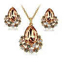 cheap Earrings-Women's Crystal / Synthetic Diamond Jewelry Set - Crystal, Imitation Diamond Drop Classic, Fashion, Elegant Include Stud Earrings / Necklace Dark Coffee / Pink For Engagement / Ceremony