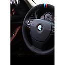 זול פנים הרכב - עשו זאת בעצמכם-כיסויים להגה עור אמיתי לבן / כחול For BMW X3 / X5 / סדרה 3 כל השנים