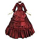 tanie Kostiumy ze starego świata-Rokoko Wiktoriańskie Kostium Damskie Stroje Czerwony Postarzane Cosplay Flokowanie Reasonable Rękaw 3/4 Tren sweep