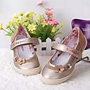 זול נעלי ילדות-בנות נעליים דמוי עור אביב קיץ נוחות / נעליים לילדת הפרחים שטוחות ל זהב / כסף