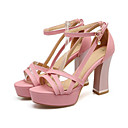 cheap Women's Sandals-Women's Shoes PU(Polyurethane) Spring / Summer Comfort / Novelty Sandals High Heel Open Toe Beading Black / Beige / Pink / Wedding