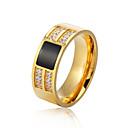 baratos Anéis-Homens Anel de banda - Aço Inoxidável Fashion 7 / 8 / 9 / 10 / 11 Dourado / Prata Para Formal Escritório e Carreira