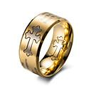povoljno Muško prstenje-Muškarci Band Ring Zlato Crn Titanium Steel Titanij Čelik Circle Shape Moda Rad Ured i karijera Jewelry