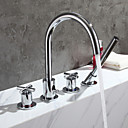 cheap Bathtub Faucets-Bathtub Faucet - Contemporary Chrome Tub And Shower Brass Valve / Two Handles Four Holes