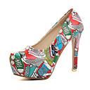 olcso Női magassarkú cipők-Női PU Tavasz / Ősz Kényelmes Magassarkúak Tűsarok Kerek orrú Piros / Zöld / Kék