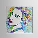 זול ציורי שמן-ציור שמן צבוע-Hang מצויר ביד - אנשים מודרני כלול מסגרת פנימית / בד מתוח