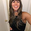 baratos Perucas Sintéticas sem Touca-Perucas sintéticas Mulheres Ondulado Natural Com Franjas Cabelo Sintético Alice Castanho com Destaques Dourados Peruca Longo Sem Touca Marron StrongBeauty