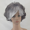 cheap Synthetic Capless Wigs-Synthetic Wig Curly Layered Haircut Synthetic Hair Ombre Hair Gray Wig Short Capless