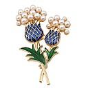 זול סיכות אופנתיות-בגדי ריקוד נשים תפס לשיער - דמוי פנינה פרח בסיסי, מתוק סִכָּה זהב עבור יומי