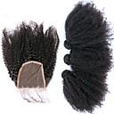 billige Smykke Sæt-3 Bundler Med Afslutning Brasiliansk hår Afro Kinky Jomfruhår Hårstykke med lukning Menneskehår Vævninger Menneskehår Extensions
