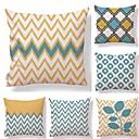 cheap Pillow Covers-6 pcs Textile Cotton/Linen Pillow Cover, Floral Geometric Art Deco
