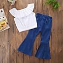 זול סטים של ביגוד לבנות-סט של בגדים כותנה פוליאסטר אביב קיץ ללא שרוולים יומי ליציאה אחיד בנות לבן