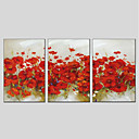 cheap Oil Paintings-Oil Painting Hand Painted - Floral / Botanical Modern Three Panels