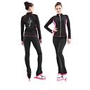cheap Slipcovers-Figure Skating Jacket with Pants Women's Ice Skating Tracksuit Black / Blue Black / Pink Elastane Velvet Competition Skating Wear Thermal / Warm Long Sleeve Skating