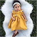 זול חולצות לבנות-שמלה פוליאסטר קיץ כל העונות ללא שרוולים יומי ליציאה אחיד הילדה של חמוד פעיל צהוב