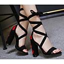 זול נעלי אוקספורד לנשים-בגדי ריקוד נשים נעליים עור נובוק אביב / קיץ נוחות סנדלים עקב עבה אדום / כחול / תחרה