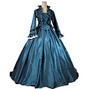 preiswerte PS4 Zubehör-Renaissance Viktorianisch Kostüm Erwachsene Austattungen Blau Vintage Cosplay Satin / Tüll Langarm