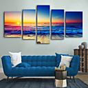 cheap Stretched Canvas Prints-Canvas Print Rustic Modern, Five Panels Canvas Vertical Print Wall Decor Home Decoration