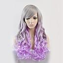 preiswerte Synthetische Perücken ohne Kappe-Synthetische Perücken Große Wellen Synthetische Haare Lila Perücke Damen Lang Kappenlos