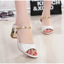 זול סנדלי נשים-בגדי ריקוד נשים נעליים PU קיץ נוחות סנדלים עקב עבה פתוח בבוהן זהב / לבן / כסף