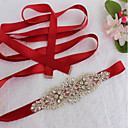 cheap Party Sashes-Satin / Tulle Wedding / Special Occasion Sash With Crystal / Faux Pearl / Crystals / Rhinestones Women's Sashes