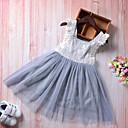 זול שמלות לבנות-בנות בוהו מכנסיים - אחיד / טלאים תחרה / גב חשוף / פפיון אפור בהיר 100 / חמוד / חגים / ליציאה / פעוטות