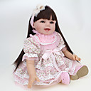 cheap Puppets-NPK DOLL Reborn Doll Baby Girl 22 inch Silicone / Vinyl - lifelike, Hand Applied Eyelashes, Tipped and Sealed Nails Kid's Girls' Gift / CE Certified / Natural Skin Tone / Floppy Head