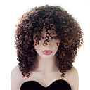 cheap Synthetic Capless Wigs-Synthetic Wig Women's Curly Brown With Bangs Synthetic Hair Highlighted / Balayage Hair / With Bangs Brown Wig Medium Length Capless Black / Medium Auburn