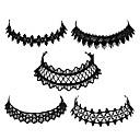 זול עגילים אופנתיים-בגדי ריקוד נשים שרשראות מחרוזת - תחרה בסיסי, אופנתי שחור שרשראות 5pcs עבור יומי, שנה חדשה