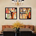 abordables Decoraciones de Pastel-Abstracto Personas Ilustraciones Arte de la pared,Kunststoff Material con Marco For Decoración hogareña marco del art Sala de estar