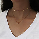 billige Halsbånd-Dame Kort halskæde / Halskæder med flere lag - Hjerte Mode Guld, Sølv Halskæder Smykker 1 Til Aftenselskab, Nytår