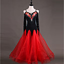 cheap Historical & Vintage Costumes-Ballroom Dance Dresses Women's Performance Chinlon Organza Appliques Crystals / Rhinestones Long Sleeves High Dress