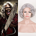 cheap Anime Cosplay Wigs-madea goes to jail movice tyler perry cosplay wig short silver curly synthetic wigs for black women afro kinky curly hair beauty halloween party wig
