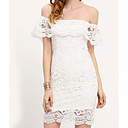 זול ספלים וכוסות-לבן סירה מתחת לכתפיים מעל הברך תחרה, צבע אחיד - שמלה תחרה ליציאה בגדי ריקוד נשים