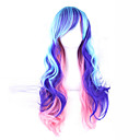 cheap Costume Wigs-Synthetic Wig Wavy With Bangs Synthetic Hair Side Part Blue Wig 13cm(Approx5inch) Capless Sky Blue