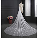 cheap Party Headpieces-One-tier Classical Wedding Veil Cathedral Veils with Fringe Tulle