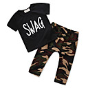 cheap Boys' Clothing Sets-Boys' Unisex Daily Going out Print Clothing Set, Cotton Polyester Summer Short Sleeves Casual Street chic Black