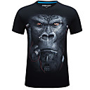 cheap Smart Robots-Men's Basic / Street chic Cotton T-shirt - Geometric Round Neck / Short Sleeve