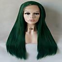 זול פיאות תחרה סינטטיות-סינתטי תחרה פאות הקדמי ישר סגנון תספורת שכבות חזית תחרה פאה ירוק שיער סינטטי בגדי ריקוד נשים חלק אמצעי ירוק פאה בינוני ארוך