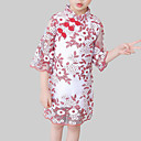 tanie Sukienki dla dziewczynek-Dzieci Dla dziewczynek Wzornictwo chińskie Wyjściowe Kwiaty Koronka Rękaw 3/4 Sukienka