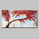זול ציורי שמן-ציור שמן צבוע-Hang מצויר ביד - מופשט / פרחוני / בוטני מודרני כלול מסגרת פנימית / בד מתוח
